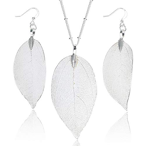 Dangle Bohemian Silver Long Leaf Pendant Necklace and Earring Set Cool Dainty Jewelry for Women Girls