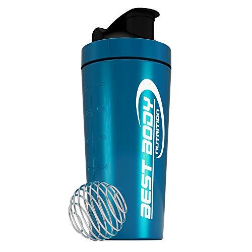 Best Body Nutrition Edelstahl Eiweiß Protein Shaker mit integrierten Sieb und Spiralball - blau