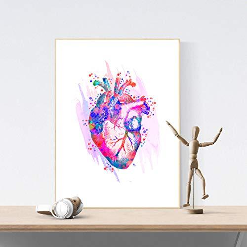 ZWBBO Canvas schilderij Decoratieve schilderijen Menselijk Hart Anatomische Kunst Posters en Prints Medische Anatomie Muur Kunst Schilderen Aquarel Geneeskunde Foto Artsen Office Decor