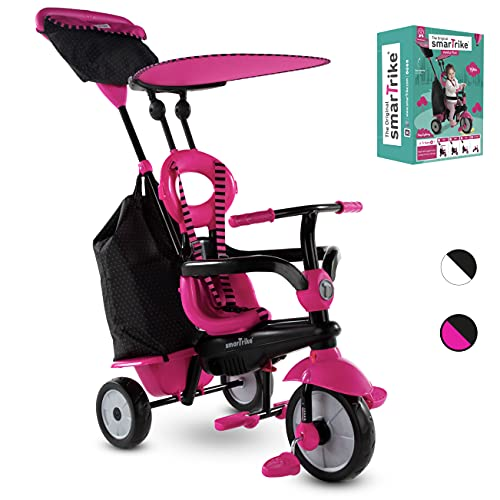 smarTrike Vanilla Plus 4 in 1 Adjustable Baby and Toddler Tricycle Push Stroller Bike with Canopy for Ages 15 Months to 3 Years, Pink