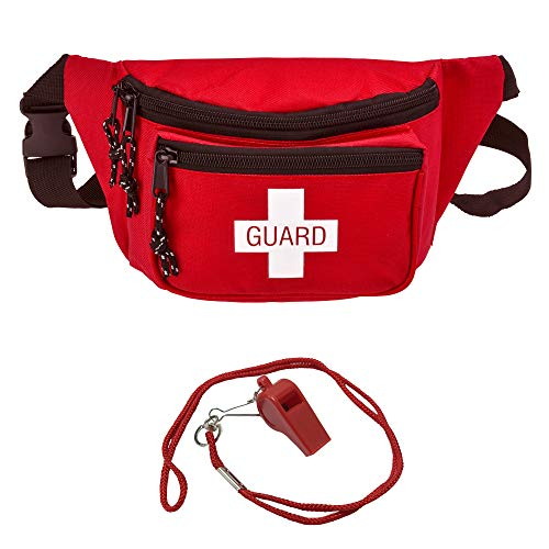 AsaTechmed Lifeguard Fanny Pack with Whistle Lanyard - Baywatch Style First Aid Hip Pack w/Adjustable Strap, Cross Logo + Zipper Pouch, Emergency Equipment Set