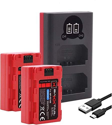 Baxxtar Pro III (2x) Compatibile con la batteria Sony NP-FZ100 con caricabatteria Mini 18582 LCD DUAL - Sony Alpha ILCE 6600 Alpha 7 III Alpha 7R III Alpha 9 9R 9S Alpha 9 II