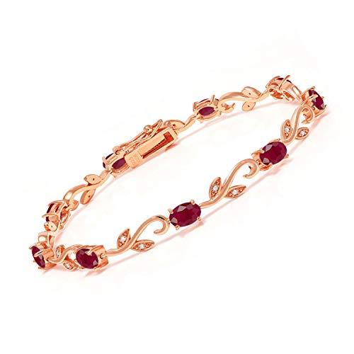 Gem Stone King 5.53 Ct Oval Red Ruby White Diamond 18K Rose Gold Plated Silver Bracelet