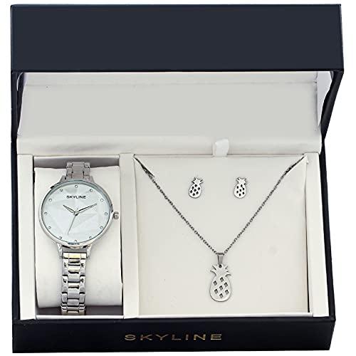 SKYLINE, Conjunto de Accesorios para Mujer, Reloj de Pulsera, Collar y Pendientes con Diseño de Piñas, Acero Inoxidable, Cumpleaños, Aniversario, etc, Plateado