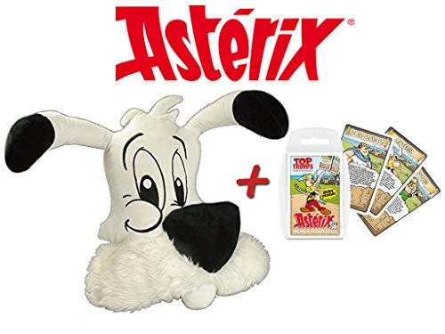 Unbekannt Idefix Kissen (40x35x12cm) Kopfkissen + Top Trumps Asterix Kartenspiel Quartettspiel Obelix