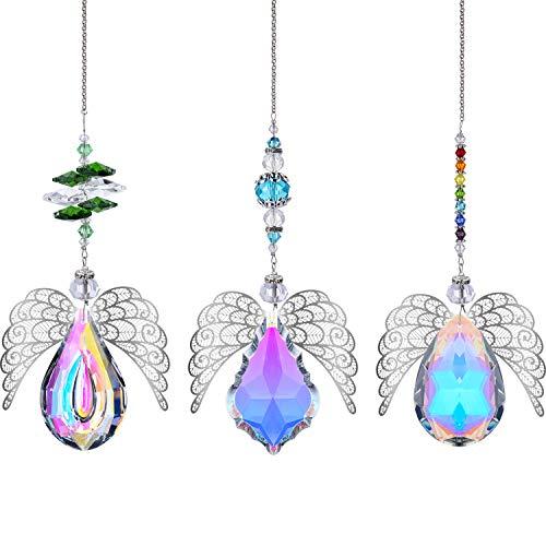 H&D HYALINE & DORA Lot de 3 pendentifs en métal en forme d'aile d'ange avec cristaux arc-en-ciel pour fenêtre, maison, Noël