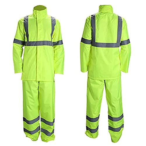 FJLOVE Regenanzug mit Sicherheitsreflektoren für Männer Schwere Arbeitskleidung wasserdichte Jacke mit Hose