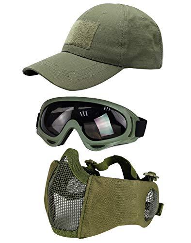 Hodeacc 3 Pcs Tactical Airsoft Mask Goggles Baseball Cap Set,Adjustable Half Face Mesh Mask with Ear...