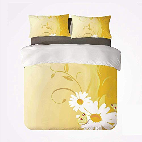 Zozun Duvet Cover Set Yellow Nice 3 Bedding Set,Swirling Curving Chamomile Flowers with Flying Butterflies Nature Style Summer Decor Decorative for livingroom