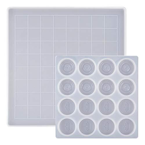 Schachbrett Silikonform, DIY International Checker Klare Form Silikon Epoxidharzformen, 3D handgefertigte Silikonform Set Polymer Clay Harz Backform