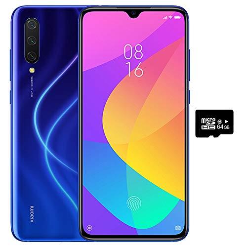 Xiaomi Mi 9 Lite (128GB, 6GB RAM) 6.39' Display, Dual SIM GSM Factory Unlocked - US & Global 4G LTE International Version (Aurora Blue, 128GB + 64GB SD + Case Bundle)