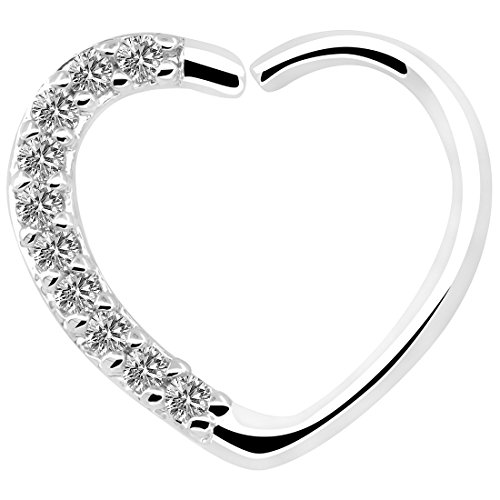 OUFER Body Piercing Jewellery Heart Sharped Right Closure Daith Cartilage Tragus Helix Earrings 16 Gauge