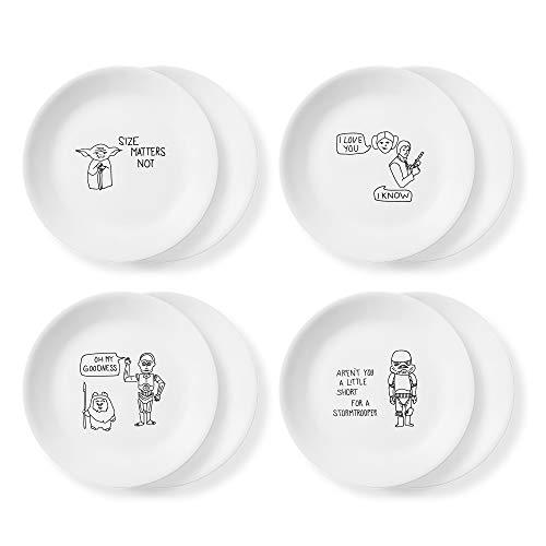 Corelle Disney Star Wars Doodles 8.5' Salad Lunch Plates, 8.5 inch