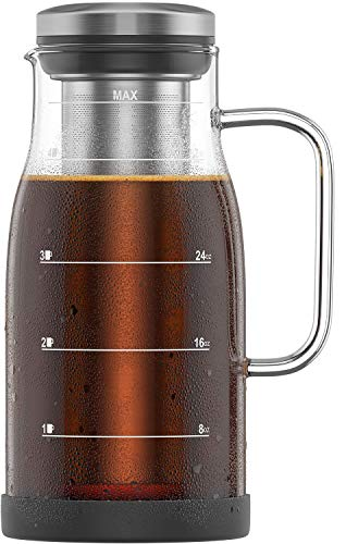 Shanik Cold Brew Coffee Maker - Perfect Iced Coffee Maker/Iced Tea Maker, Measured Glass with Handle and Spout. Stainless Steel Filter and Silicone Base. Easy to Clean, Cleaning Brushes Incl - 32oz