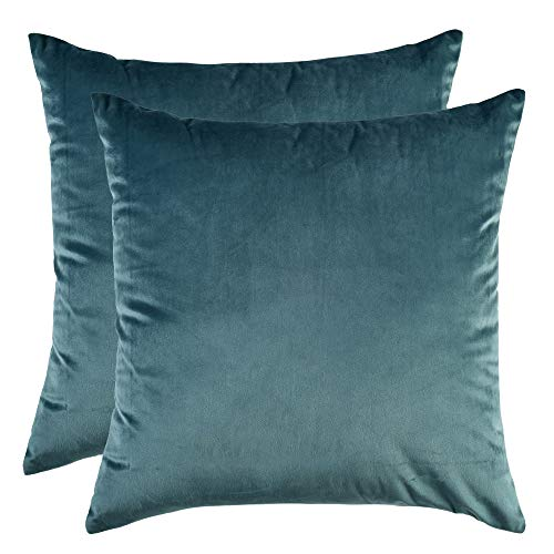 Artcest Set of 2, Cozy Solid Velvet Throw Pillow Case, Decorative Couch Cushion Cover, Soft Sofa Euro Sham with Zipper Hidden, 14' x14 (Peacock Blue)