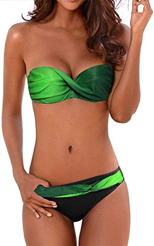 EUDOLAH Damen Bandeau Padded Bikini-Set Trägerlosen Badeanzug Push Up (Medium Z-Grün)