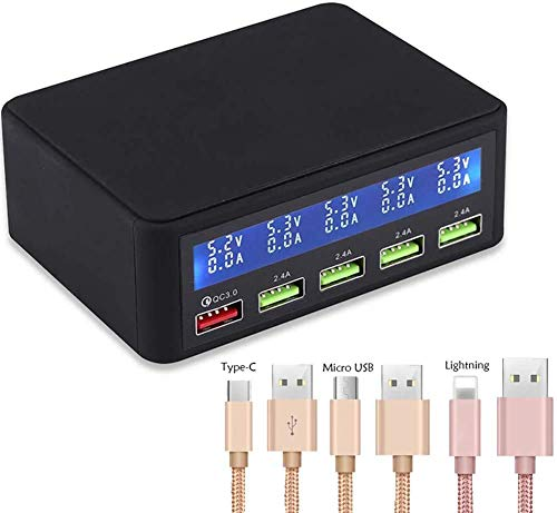 WOPOO Multi USB Charger,50W 5 Port USB Fast Charger,Family Charge Docking Station and Organizer Hub,Compatible with for iPhone IPad and Android Phone and Tablet
