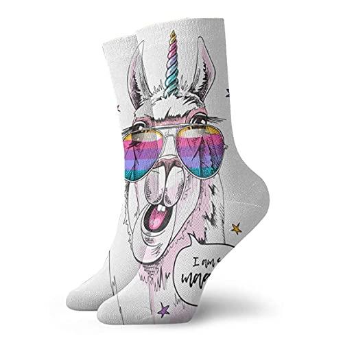 Paedto Divertido cuerno y gafas de arco iris de llama. Soy tan mágico Pintura Arte Impreso Divertido Novedad Animal Casual Algodón Crew Calcetines 11.8 pulgadas