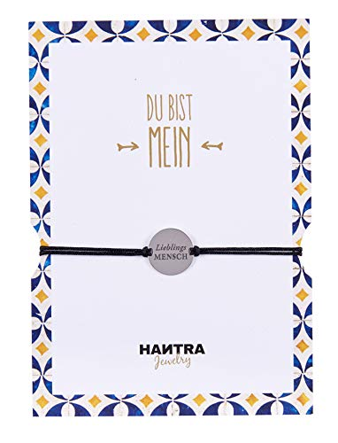 HANTRA Lieblingsmensch Armband Damen - Anhänger aus 925er Sterling Silber - Handarbeit - Nickelfrei - Damen Armband Schwarz