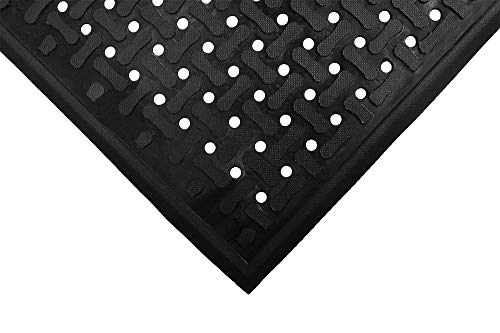 M+A Matting - 420010035 Comfort Flow | Commercial-Grade Drainable Anti-Fatigue Mat for Wet Areas – Slip Resistant, Antimicrobial, Grease and Oil Proof, Chemical Resistant, Welding Safe (Black, 3