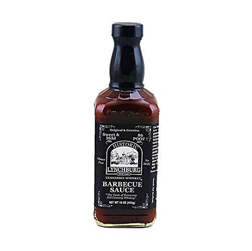 Historic Lynchburg Tennessee Whiskey Sweet and Mild Barbecue Sauce 86 Poof, Gluten Free, No MSG, Flavored with Jack Daniel Whiskey
