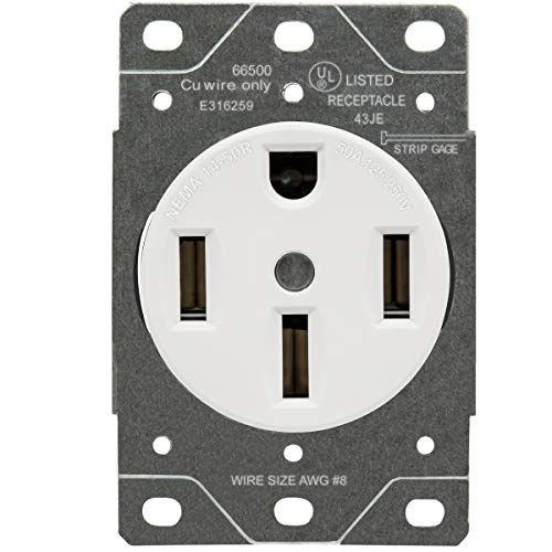 50 Amp Range Receptacle Outlet for RV and Electric Vehicles, NEMA 14-50R, 3- Pole, 4 Wire (8, 6, 4 AWG Copper Only), 125/250V, , White - ENERLITES 66500-W