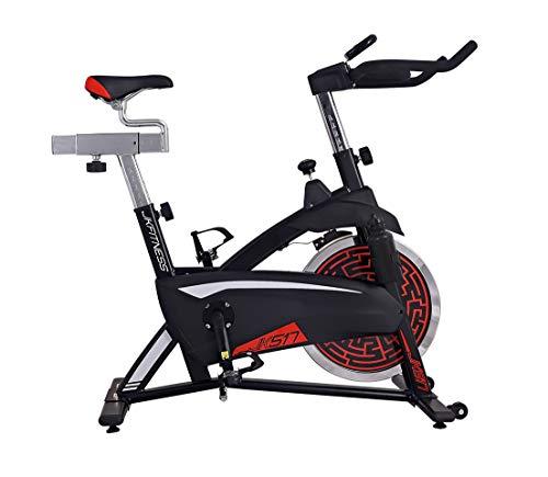 JK FITNESS - Spin bike JK517 - Volano 18 kg - Portata max 130 kg - trasmissione a cinghia