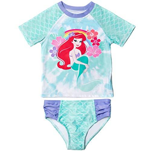 Disney Little Mermaid Princess Ariel Toddler Girls Rash Guard Swimsuit Set Aqua 3T