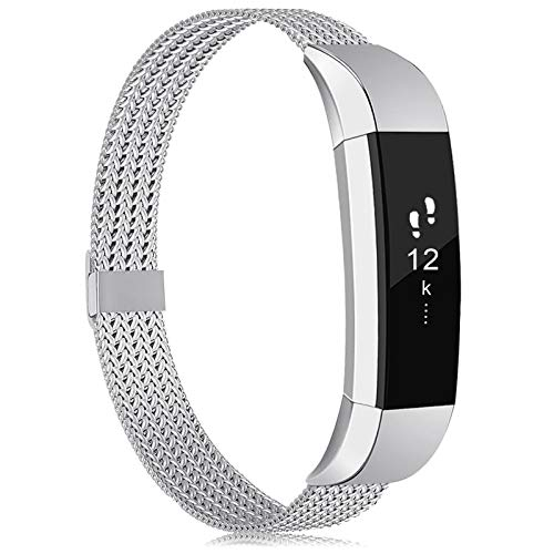 Tobheo Armband Kompatibel für Fitbit Alta Hr/Alta/Ace Armband Damen Herren Kinder, Metall Ersatzarmband Uhrenarmband Zubehör Band Silber S