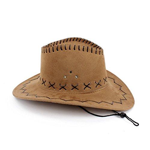 NYKKOLA Luksusowy szeroki daszek zamszowy kapelusz kowbojski unisex fantazyjny dodatek do sukienki żółty