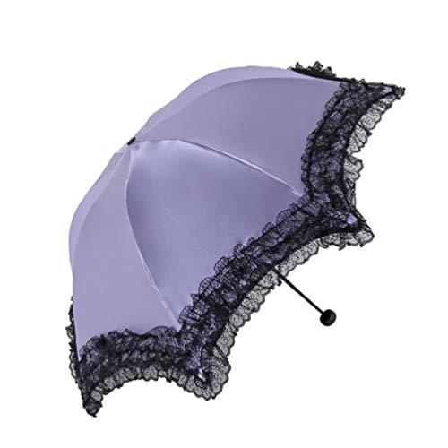 Honeystore Vintage Lace Umbrella Wedding Bridal Sun Shade Anti-uv Parasol 33051E-Purple