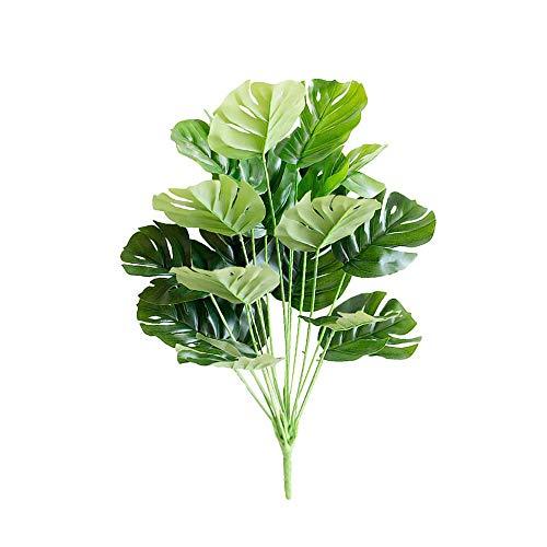 Llxxx flores-4PC 1pc Grandes Hojas de Palmera Monstera Tropical Plantas Artificiales Plantas Verdes de plástico Plantas Falsas Accesorios de decoración de jardín para el hogar