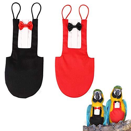 ASOCEA Paquete de 2 pañales para pájaros loros trajes de vuelo pañales reutilizables con lazo decoración para mascotas ropa para periquitos cacatúas cacatúas guacamayos bodas aniversarios Navidad