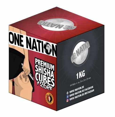1 kg Shisha Carbón de Coco Shisha One Nation 72 Cubos Hookah – Carbón de Calidad para Shisha Larga Duración