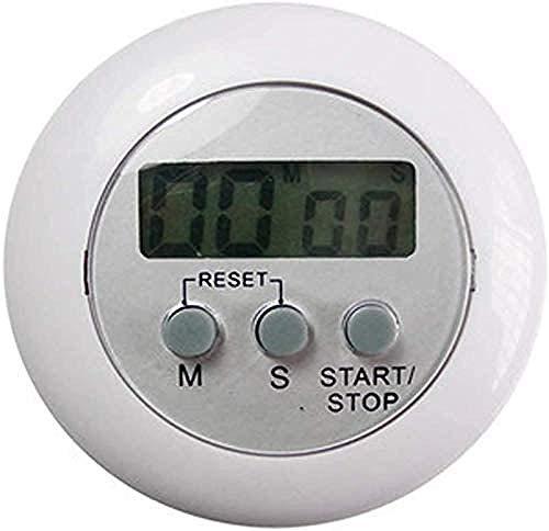 Reloj de cocina redondo LCD digital de pantalla grande con cuenta atrás magnético temporizador de cocina contador despertador reloj de cocina gadget blanco