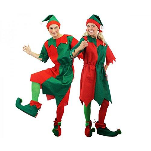 I LOVE FANCY DRESS LTD ELF WICHTEL HEINZELMANN Paar VERKLEIDUNG KOSTÜM = GRÜN/ROTE Tunika MIT MÜTZE ((OHNE Strumpfhose&Schuhe)) Helfer FÜR WEIHNACHTSMANN+Nikolaus= XXXXLarge+XXXXLarge