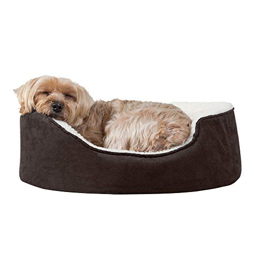 Furhaven Pet - Plush Faux Fur Calming Anti-Anxiety Donut Bed, Beanbag Style Ball Bed, Self-Warming Hi Lo Cuddler Dog Bed and More for Dogs and Cats - Multiple Colors, Sizes, and Styles