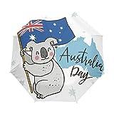 Bandera Canguro De Australia Paraguas Plegable con Apertura y Cierre Automático Antiviento Protección UV Ligero Viajes Paraguas paraPlaya Mujeres Niños Niñas