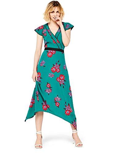 Marca Amazon - find. Mujer Vestido Midi Cruzado de Flores, Verde (Green), 40, Label: M