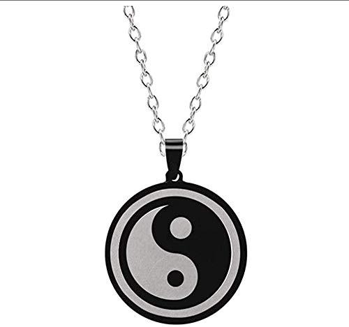 Collar Collar con Personalidad para Hombre, Figura De Tai Chi Yin Yang, Colgante De Aleación De Acero De Titanio, Cadena Opcional, Cuerda De Cuero, Joyería Personalizada, Regalo