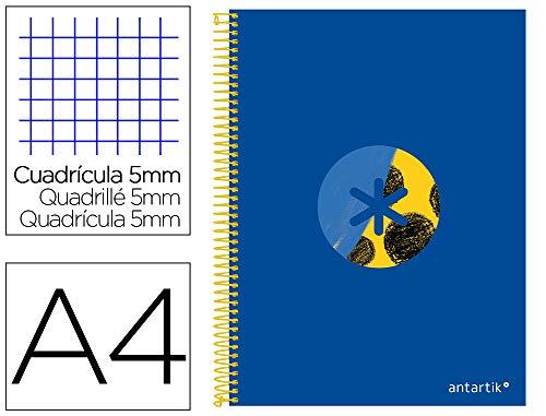 Cuaderno espiral liderpapel a4 micro antartik tapa forrada120h 100 gr cuadro 5 banda 4 taladros trending azul 2020