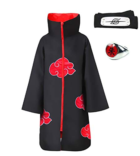 HappyShip 3Pcs Halloween Cosplay Akatsuki Cloak Costume with, Black, Size Large