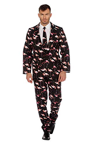 shoperama Herren-Anzug Flamingo Muster mit Krawatte Sakko Jackett Hose Karneval Fasching Party JAG Cool, Größe:48