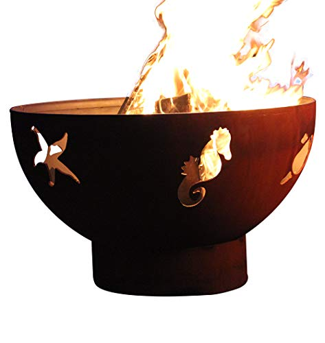 Find Bargain Fire Pit Art Sea Creatures Natural Gas Fire Pit Bowl Outdoor Patio Furniture Steel Fire...
