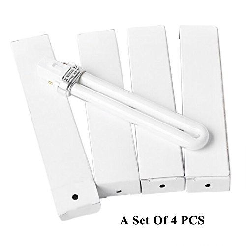 Baugger Asciugacapelli   set di 4 Pcs 9W Lampada UV Luce per Nail Art Dryer Lampada di Polimerizzazione Sostituzione a Forma di u Lampada Bulb Tubo Nail Art Supplies
