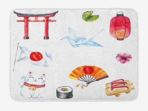 Japanese Bath Mat, Hand Drawn Traditional Elements Watercolors Torii Gate Origami Bird Flag Lacky Cat, Plush Bathroom Decor Mat with Non Slip Backing, 23.6 W X 15.7 W Inches, Multicolor