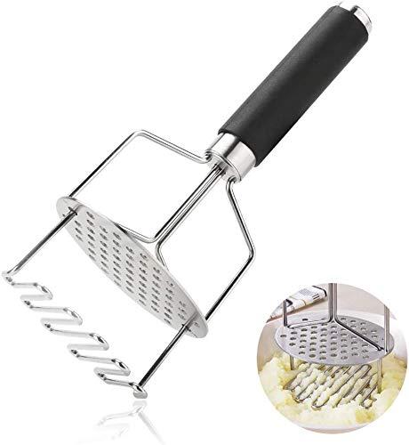 Ciujoy Kartoffelstampfer Edelstahl Kartoffel Stampfer Doppelt Gemüsestampfer Kartoffelschäler Kartoffelpresse für Kartoffelschlamm Kartoffelpüree Gemüse Früchtedoppelte Wirkung durch eingebaute