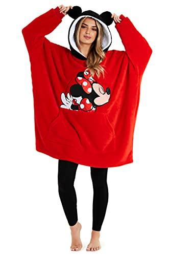 Disney Women's Hoodies, Oversized Blanket Hoodie, Minnie and Mickey Gifts (Red)