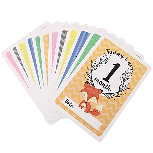 Kisangel 12 peças de cartões mensais de madeira para bebês, marcadores de idade do bebê, cartões de anúncio de nascimento, presentes de chá de bebê, adereços para fotografia de crescimento recém-nascido