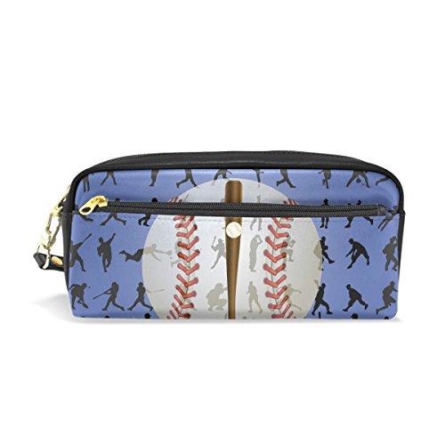 BENNIGIRY Baseball Bleistift Fall tragbar Pen Tasche Student Schreibwaren Pouch PU Leder Groß Kapazität Reißverschluss Make-up Kosmetiktasche
